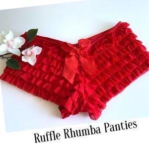 Intimate Basics Ruffle Panties Red New